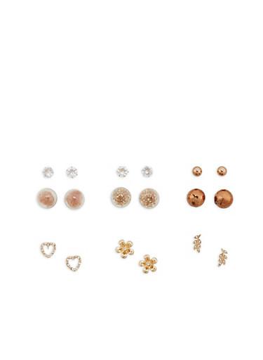 Set of 3 Reversible and 3 Rhinestone Stud Earrings,TAN,large