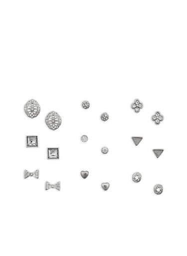 9 Assorted Stud Earrings Set,SILVER,large