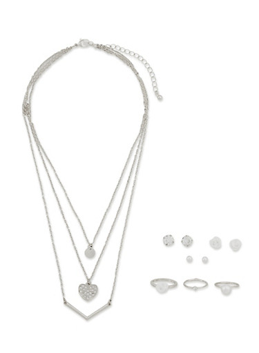 Full Jewelry Set with Stud Earrings Rings and Layered Necklace,SILVER,large