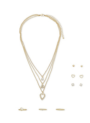 Layered Necklace with Stud Earrings and Rings Set,GOLD,large