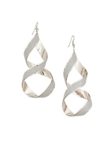 Glitter Twist Drop Earrings,SILVER,large