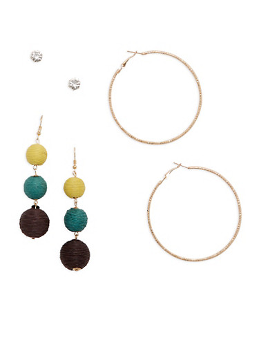 Linear Threaded Ball Earrings Set,GREEN,large