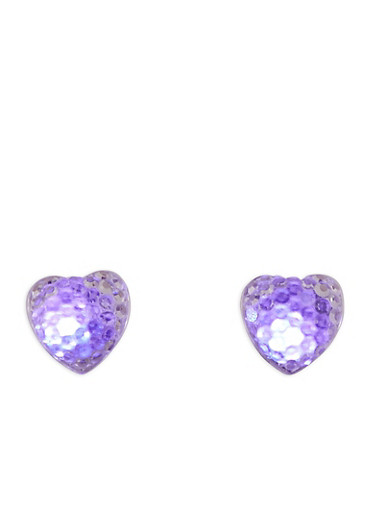 Heart Light Up Earrings,PURPLE,large