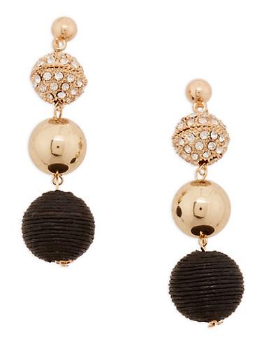 Linear Bead Drop Earrings,BLACK,large