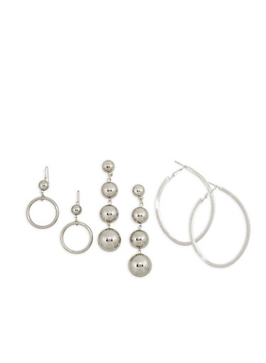 Set of 3 Assorted Metallic Earrings,SILVER,large