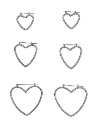 Multi Size Heart Hoop Earrings,SILVER,large
