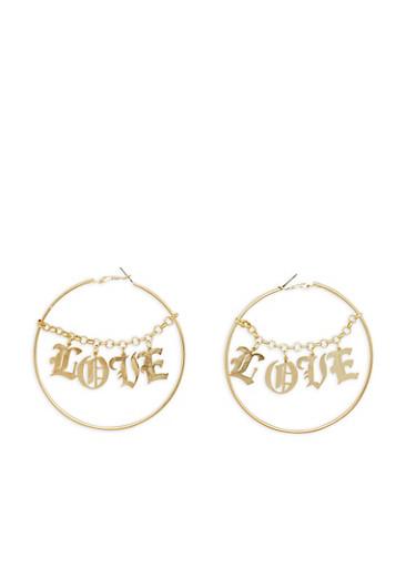 Large Love Chain Hoop Earrings,GOLD,large