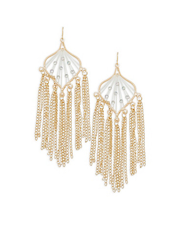 Rhinestone Metallic Fringe Earrings,GOLD,large