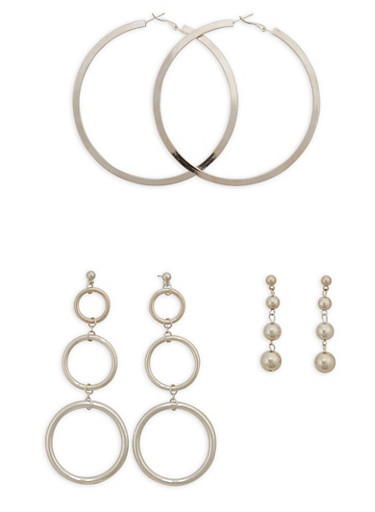 Trio of Drop and Hoop Earrings,SILVER,large