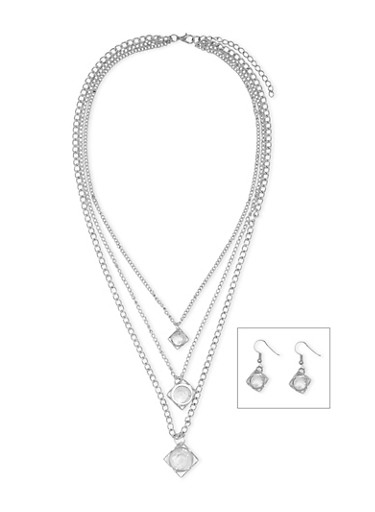 Layered Chain Necklace and Drop Earrings with Geo Charms,SILVER,large