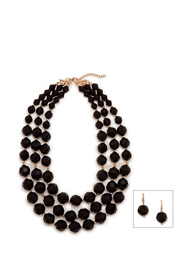 Beaded Drop Earrings and Tiered Necklace Set,BLACK,large