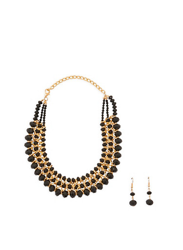 Bead and Chain Woven Collar Necklace with Earrings,BLACK,large