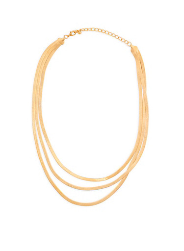 Layered Flat Snake Chain Necklace,GOLD,large