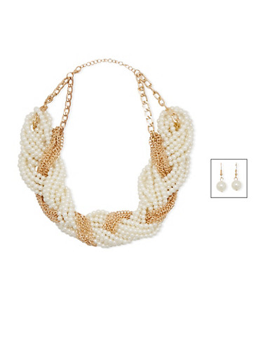 Braided Faux Pearl Necklace and Earrings Set,GOLD,large