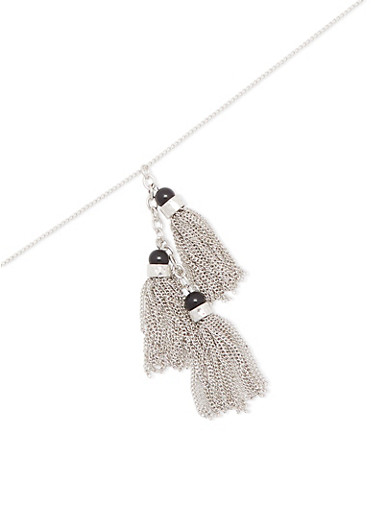 Chain Tassel Necklace,SILVER,large