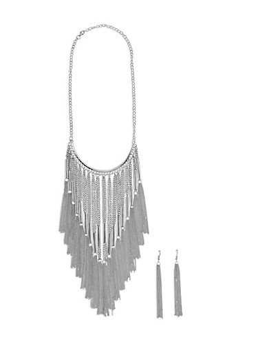 Metallic Chain Fringe Necklace with Matching Earrings,SILVER,large