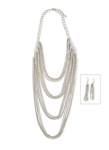 Layered Chain Necklace with Drop Earrings Set,SILVER,large