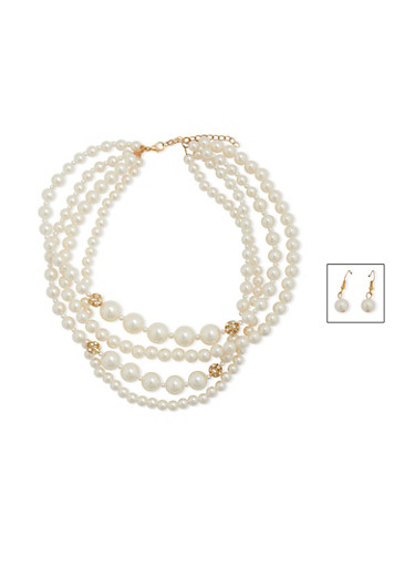 Tiered Faux Pearl Necklace with Faux Pearl Earrings,IVORY,large