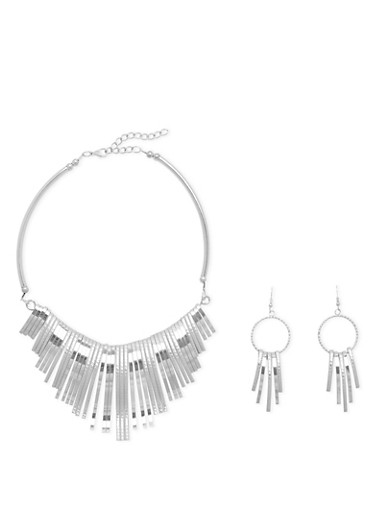 Collar Necklace and Earring Set,SILVER,large