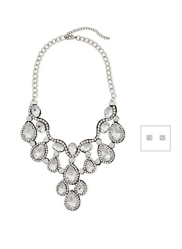 Crystal Bib Necklace and Stud Earrings Set,SILVER,large