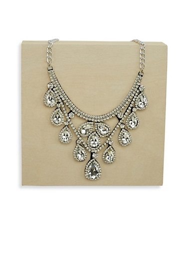 Jeweled Rhinestone Collar Necklace,SILVER,large