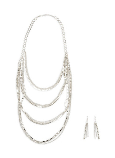 Mixed Metallic Chain and Bead Layer Necklace with Matching Earrings,SILVER,large