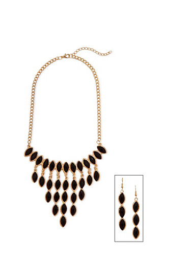 Beaded Bib Necklace with Drop Earrings Set,BLACK,large