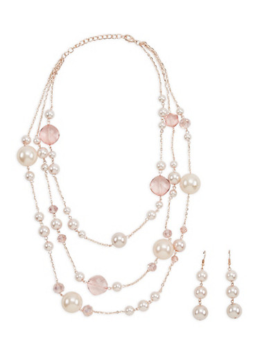 Faux Pearl Beaded Necklace and Earrings,ROSE,large