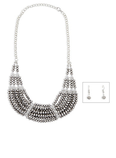 Metallic Beaded Layer Collar Necklace with Earrings,HEMATITE,large