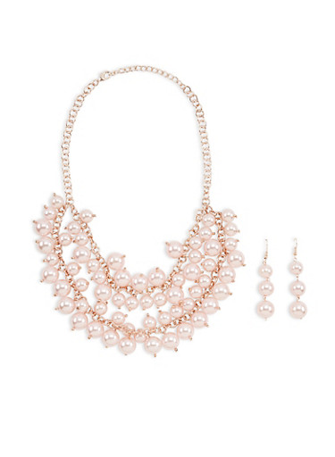 Faux Pearl Layered Necklace with Matching Earrings,ROSE,large