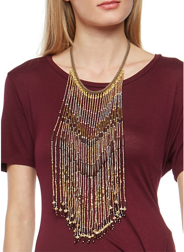 Beaded Fringe Necklace,BROWN,large