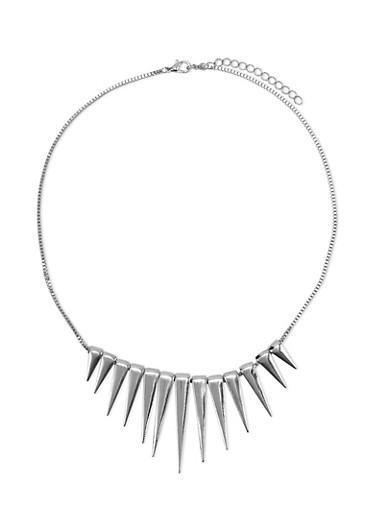 Spike Necklace,SILVER,large