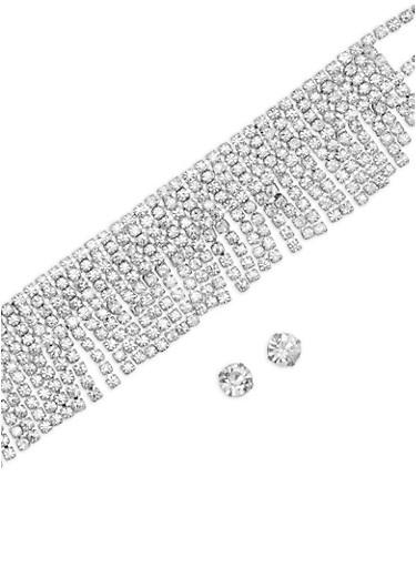 Rhinestone Fringe Choker with Stud Earrings,SILVER,large