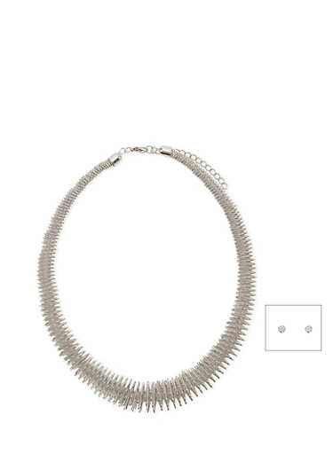 Elastic Metal Necklace with Stud Earrings Set,SILVER,large