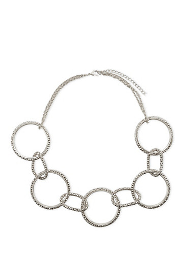 Circle Necklace with Mesh Trim,SILVER,large