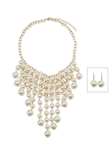 Faux Pearl Bib Necklace and Drop Earrings Set,GOLD,large