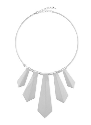 Collar Necklace with Spear Accents,SILVER,large