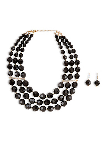 Large Beaded Layered Necklace with Matching Earrings,BLACK,large