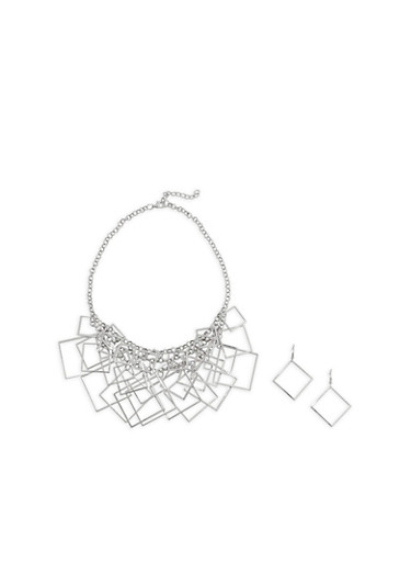 Metallic Geometric Fringe Necklace with Earrings,SILVER,large