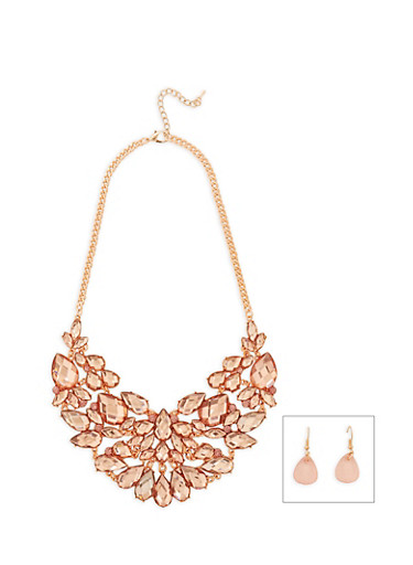Jeweled Collar Necklace with Matching Earrings,ROSE,large