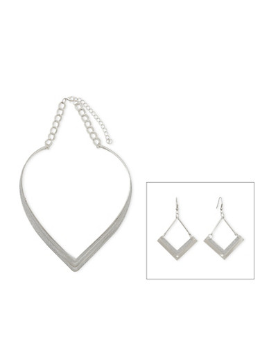 Glitter V Collar Necklace and Drop Earrings Set,SILVER,large
