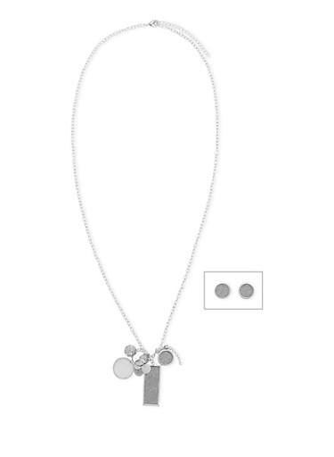 Long Charm Necklace with Glitter Stud Earrings,SILVER,large