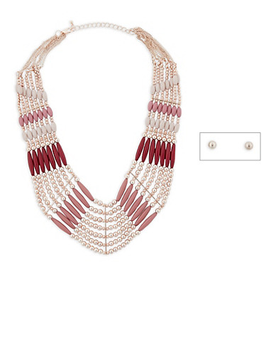 Layered Bead Collar Necklace with Stud Earrings Set,BLUSH,large