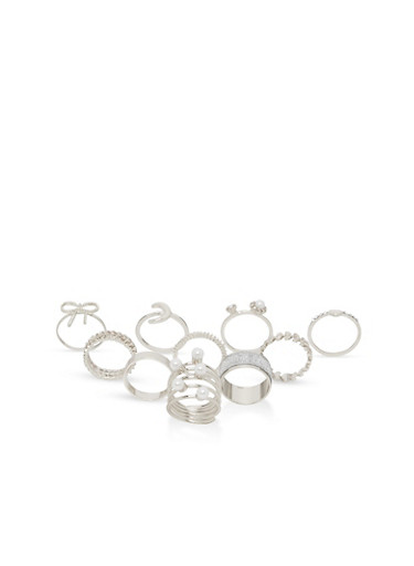 Set of 10 Assorted Glitter and Faux Pearl Rings,SILVER,large