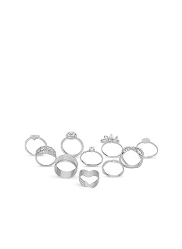 Set of 10 Assorted Glitter and Rhinestone Rings,SILVER,large