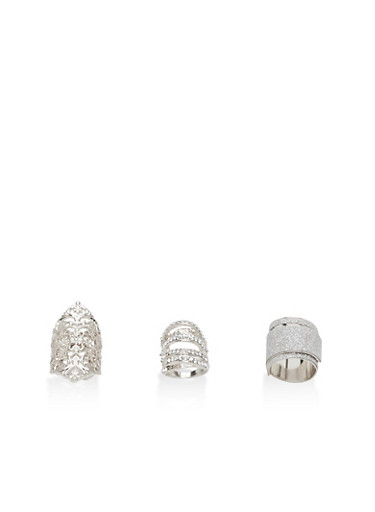 Trio of Rhinestone and Glitter Rings,SILVER,large