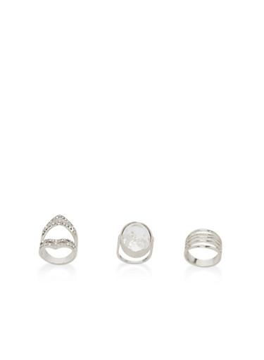 Trio Of Metallic Rhinestone Rings,SILVER,large