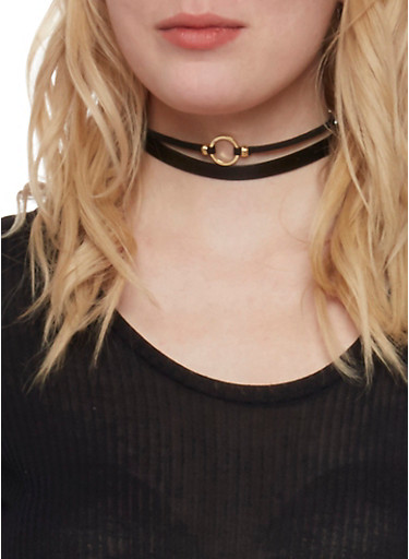 Set of 3 Choker Necklaces,JET,large