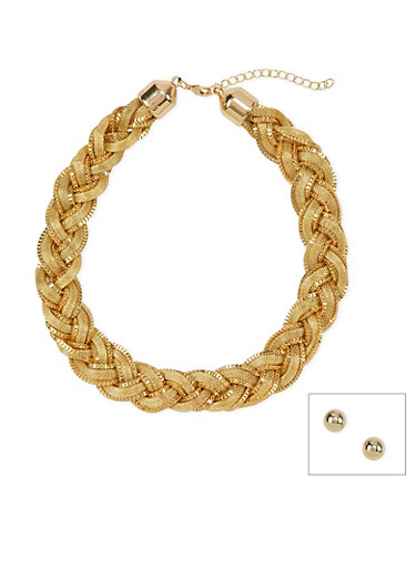 Stud Earrings and Braided Necklace Set,GOLD,large