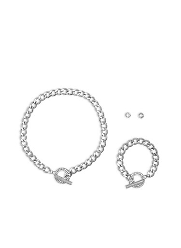 Curb Chain Toggle Necklace Bracelet and Stud Earrings Set,SILVER,large
